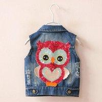 american standard suppliers - 1850541 New Fashion Baby Girls Vests Denim Appliuqes Owl Sequined Girls Waistcoats Children Clothes Supplier