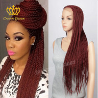 Wholesale Braided Lace Front Wigs heat resistant New fashion style red Long Full Hand Braided Synthetic Hair Braided Wigs For Black Women