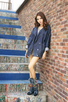 beaded boots sale - 2016 Europe and America new shoes autumn and winter high heeled boots beaded denim rough with women s boots Martin boots now in Europe Sale