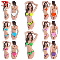 Wholesale And the wind Sexy Swimwear trade triangle Ms split swimsuit solid black side hot bikinis