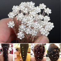 Wholesale 40Pcs Pretty Wedding Bridal Pearl Flower Rhinestone Hairpins Hair Pins Clips Barrettes Bridesmaid