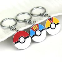 ball key chains - Anime Cartoon Pikachu Poke Ball Keychain Alloy Cosplay Pendant Key Chain Hot Poke Anime Collection Kids Gifts
