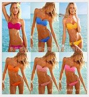 bandeau one piece swimwear - Women Sexy Bandeau Lace Crochet Bikini Padded Push Up Bra Swimwear Swimsuit S758 More Colors Wholesales