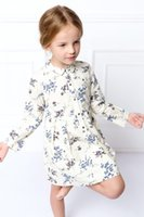 american doll costumes - 2017 Girl graceful flower dresses Kids classical doll collar floral printed dress spring autumn long sleeve birthday costume