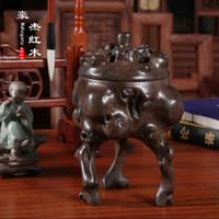 Wholesale Solid wood incense burner incense box disc monolith incense box wood incense tube African blackwood carving incense