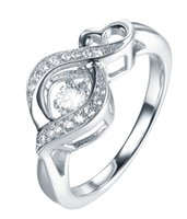 silver - Infinity Sterling Silver Party Engagement Wedding Ring Inlaid Dancing Diamond Cubic Zirconia Women Jewelry DL33130A