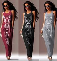 animal print sundress - Cat Print dress Sexy BOHO Women Sleeveless Long Maxi Party Dress Beach Dresse Sundress Fashion Beach Dress color KKA338