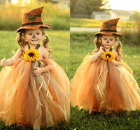 Wholesale Sunflower Flower Girls Dresses - Little Flower Girl Dresses Halter Sunflower Ribbon Empire Ball Gown Communion Dress Floor Length Organza Backless Cute Dresses For Party BM