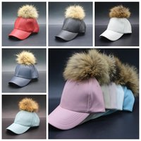 baseball cap peak - Women PU Leather Baseball Caps Leather Pom Pom Beanie Faux Fur Hats Adjustable Snapback Caps Hip Hop Skull Caps Peaked Sun Caps E23