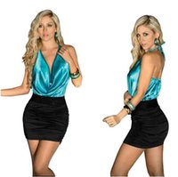 Wholesale Short Nightclub Dresses - 2016 High Quality Sexy Halter Backless Dresses Plus Size Mini Club Party Package Hip Dresses Short Nightclub One-piece Dresses FS0094