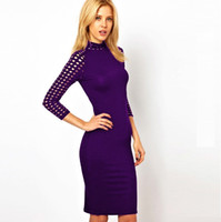 Wholesale Fashion Office Ladies Elegant Brief Dress Sleeve High necked Women Knit Hollow Sexy Prom Cocktail dresses DK7015Q