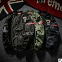 baseball bat sleeve - 2016 Fashion Hi Street Mens Military Style SUP printing hip hop Jacket Black Mens Slim Fit Hip Hop Varsity Baseball Jacket plus size
