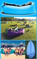 Wholesale 2016 New Inflatable Air Sleep Camping Sofa Suitable Beach Home Nylon Fabric Soft Sleeping Bag Bed Lazy Chair Easy Carry Outdoors Gear DHL