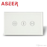Wholesale Aseer Brand AU US Standard Style Fashion White Crystal Glass Touch Panel Touch Curtain Switch VAC Hz Hz