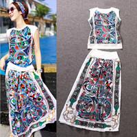 Wholesale HIGH QUALITY New Fashion Runway Suit Set Women s Bohemian Retro Novelty Printed Long Skirt Set Casual Clothing set
