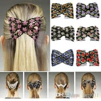 Wholesale Chic Stretch Rose Flower Bow Glass Bead Hair Head Comb Cuff Double Insert Clips OU2