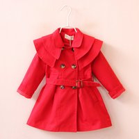baby girl sections - Autumn Baby girls Double breasted coat cotton Outwear children clothing Long section Double Ruffled shoulder kids Windbreaker jacket C1341