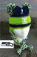 baby seahawks - Seahawks Football Beanie Earflaps Crochet Knitted Hat Baby Boys Girls Kids Hat Toddler Cartoon Animal Cotton Caps Newborn Infant Photo Props