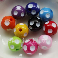 Wholesale 100PC Assorted Acrylic Polka Dot Chunky Round Bead Charm MM