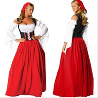 beer maid outfits - 2016 New Oktoberfest German Beer Maid Outfit Bavarian Girl Renaissance Tavern Wench Long Dress Christmas Halloween Party Cosplay Costume