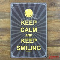 Wholesale KEEP CALM AND KEEP SMILING Tin Sign Bar pub home Wall Decor Retro Metal Art Poster