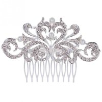 Wholesale Pearl Bridal Jewelry Silver Plated Crystal Hair Combs Wedding Hair Accessorie For Women QJ
