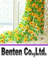 beautiful hanging baskets - 2M long Beautiful Artificial Silk Flowers Vine Fake Sunflowers Rattan For Christmas Indoor Ornaments wedding Party Home Decoration LLFA8967