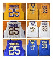 Wholesale Drop Ship Mix Order LSU Ben Simmons Shaquille O Neal Purple Gold White ALlL STYLE Jerseys