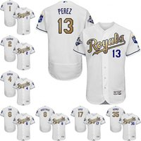 anti stop - New Kansas City Royals Flexbase Jersey Eric Hosmer Salvador Perez Gold Program Authentic Collection Baseball Jerseys