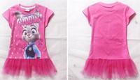 Nouveaux Zootopia Filles Tutu Robes 2016 Judy Hopps Cartoon court T-shirt d'été Top T-shirts Filles Vêtements d'été Enfants cadeau pour 4-9T