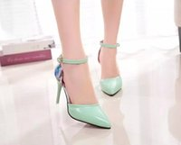 autumn colors wedding - 2016 spring and autumn new sexy diamonds and pointed high heeled shoes dress shoes buckle printing colors