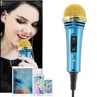 Wholesale Mini Handheld Microphone Hikeren Mini mm Vocal Instrument Microphone for iPhone iPad Samsung Android Laptop Notebook Voice Record Karaok