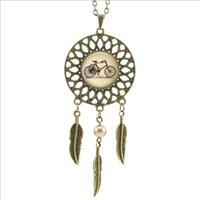 american tricycle - 2016 Trendy Style Vintage Bicycle Necklace Tricycle Dream Pendant Jewelry Dream Catcher Feather alloy Necklace DC