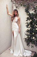 Wholesale Front Split Sweep Train Illusion Bodice Wedding Dresses Hollow Appliques Sheer Neck Sheath Bridal Gowns