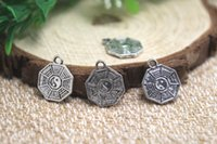 ba gua - 30pcs Amulet Charms Antiqued Silver Tone Tai Chi Ba Gua Feng Shui Coins charm pendants x13mm