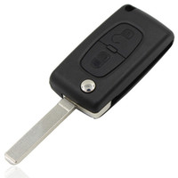 Wholesale New Flip Folding Button Remote Key Case Shell For PEUGEOT With Groove CE0523 with logo