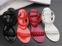 Wholesale Women Curb Chain Sandals Beach Flip Flops Slingback Buckle Shoes Candy Color Flats Open toe Shoe
