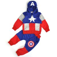 america sweaters fashion - Fashion Anime Style Children Set Baby Boy Sport Sets Suit Cartoon Captain America Hoodie Sweater pants boys Clothes