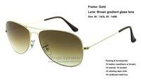 Acheter Or gros cadres lunettes-Brand new cockpit lunettes de soleil en métal de style classique 001/51 cadre en or Lentille en verre brun de qualité 56 59 mm taille de qualité supérieure OEM OEM