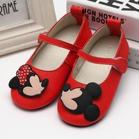 baby cow animation - Cute Princess Shoes New handmake Genuine Leather animation shoes Baby Girls Flats mickey shoes fashion Soft bottom shoes