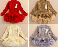 Wholesale 2016 Spring autumn Kids Girls Knit Sweater Dresses Baby girl tulle lace TUTU Winter princess jumper pullover dress