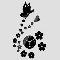 Wholesale 3D Mirror Wall Clock New Arrival Butterfly Flower DIY Living Room Kitchen Clocks Home Decoration Acrylic Quartz Clock Sticker