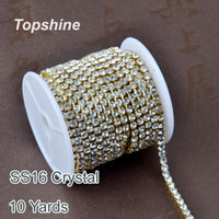 Wholesale 10 Yards SS16 Clear Crystal Sew On Densify Rhinestone Cup Chain For DIY