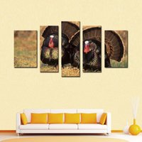 art gallery oil paintings - 5 Picture Combination Art Gallery Painting Turkeys On The Grass Picture Print On Canvas Animal The Picture Home Decoration