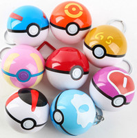 Wholesale 7cm Poke Go Figures Toys Poket center Poke ball Pokeball Super Master Plastic Keyring Keychain Pendant Figure Toy Kids Toys