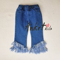 Wholesale Baby Girls Cake Ruffled Layer Coat Suspend Shirt Kids Flower Edge Blouse Summer Kids Short Tank Clothing Toddler Tassel Denim Trousers SZ C4