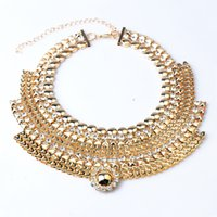 big fake gold chain - DHL Free New Vintage Exaggeration Fake Collar Metal Big Sun Necklace Clavicle Chains Crystal Wide Necklace Women s Alloy Jewelry