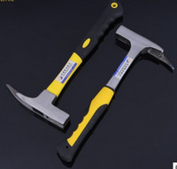 Wholesale The shockproof hammer with steel handle single suction nail claw hammer TPR bag plastic handle construction stone hammer
