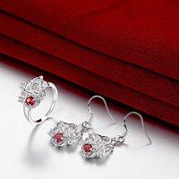 best diamonds online - Best gift fashion Diamond flower silver earring ring jewelry sets online for sale sterling silver red gemstone set wedding GTFS097C
