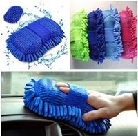 Wholesale Fashion Car Brushes Gloves Big Size One Side Coral Wash Mitt Car Wash Tools Car Care Brush T100561